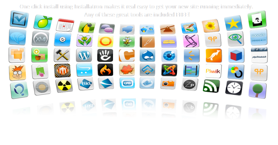 We include all of these popular sites and tools for free with every web hosting plan.  Powerful yet impeccably clean and simple, our Installatron system makes it easier than ever for even the most inexperienced users to deploy, use and maintain web applications such as WordPerfect, Joomla, Drupal and shopping carts like Magenta, Zencart, Opencart and Cubecart.
